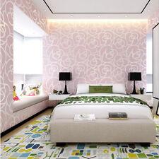 Vintage Pink Rose Flower Damask Embossed Flocking Wallpaper Roll Bedroom Decor