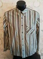 Fat Face Mens striped Shirt Size medium long sleeve brown green