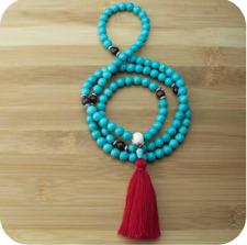 8mm Natural 108 Turquoise magnesite necklace Buddhist prayer meditation