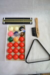 SNOOKER BALL SET WITH ACCESSORIES TRIANGLE/BRUSH/POINTS ##WOLCL59