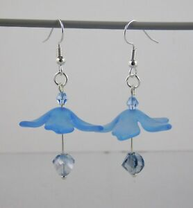 Flower Drop Earrings - Hand made with Swarovski beads and lucite flowers, Dangle