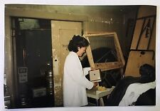 Vintage 90s PHOTO Woman Working In Backroom Storage Area Of Banquet Hall Hotel