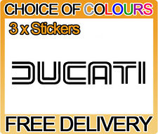 3 x Ducati Motorbike Tank Belly Pan Fairing Faring Sticker Decals, Any Colour