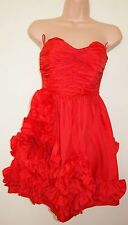 RIVER ISLAND RED RUCHED FLORAL FRILL RUFFLE SKATER PROM PARTY RARE DRESS 6 XS