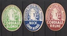 3 Anciennes étiquettes Bière  Alcool France Porez Taquet