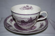 JOHNSON BROTHERS OLD BRITAIN CASTLES CROWN MARK LAVENDER LARGE FOOTED CUP SAUCER