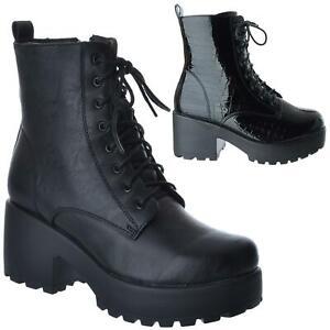 Womens Ladies Chunky Block Heel Platform Lace Zip Biker Ankle Boots Shoes Size