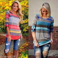 Fashion Women Loose Top Stripe Short Sleeve Blouse Ladies Casual Tops T-Shirt