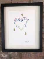 Bluebells And Bees Heart Original Signed Original Watercolour Painting, Gift,