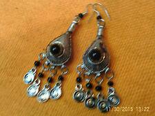 Moroccan Berber Ethnic: Super Pair of Teardrop FIBULA earrings Black NEW
