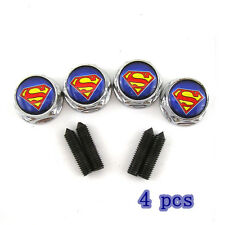 4x Superman Emblem Badge License Plate Frame Screw Bolts & Caps Covers For Ford