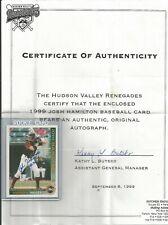 Josh Hamilton AUTO1999 Grandstand Hudson Valley Renegades Minor League TEAM COA