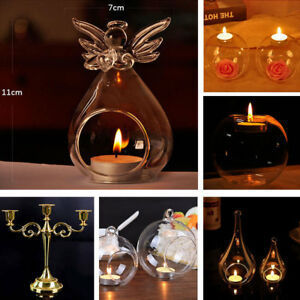 6X Clear Glass Bubble/Angel Fillable Sphere Hanging Balls Candle Tealight Holder