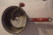 "Vintage Antique Red Handle Flour Sifter Foley Food Mill 7"" Diameter"