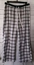 Womans Sleep Pants Size M Plaid Black White Gray