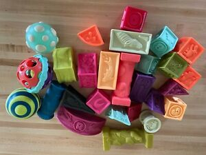b toys squeaky soft stacking blocks 6+ months multi color with b toys balls