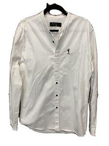 Religion White Cotton Blend Stretch Ormont Slim Fit Grandad Shirt Size XL Casual