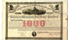 1858   $1000    Southern Minnesota Railroad Bond.