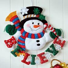 Bucilla Snowman Believe ~ Felt Christmas Wall Hanging Kit #86333 Frosty New 2012