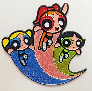 "Powerpuff Girls Trio Metal/Enamel 1.5"" Pin With Glitter Accents"