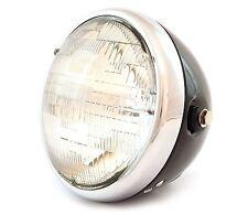 "7"" Custom Side Mount Motorcycle Headlight - Gloss Black - Chrome - Clear"