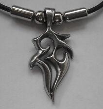 Choker #1494 TRIBAL SYMBOL PENDANT (38mm x 18mm) Rubber Necklace