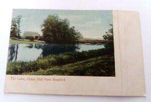 Vintage  Pre  1914  Colour  postcard  The  Lake  Gidea  Hall Park  Romford