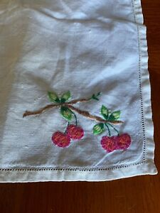 """Vintage, table ware, hand embroidered linen tray cloth, 18x13"""" cherry pattern"""