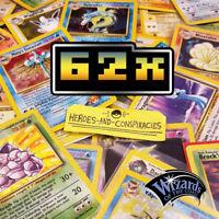 62x Pokemon Card [WotC GEN 1 + 2] [VINTAGE] LOT BULK+ RARE [NO DUPLICATES]
