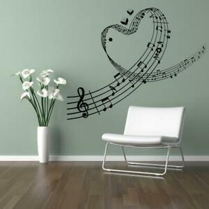 Music Love Heart Swirl Notes Cut Vinyl Wall Art Transfer Available in 21 Colours