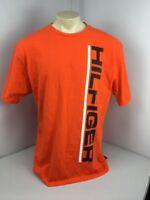 Vintage Tommy Hilfiger Spell Out Hilfiger On Front XL Orange T-shirt 90s Flag