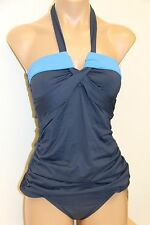 NWT Anne Cole Swimsuit Bikini Tankini 2 pc set Sz M INDI Navy