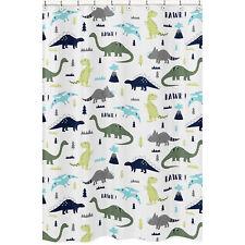 Sweet Jojo Blue And Green Mod Dinosaur Kids Bathroom Fabric Bath Shower Curtain