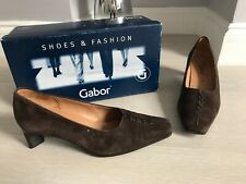 GABOR BROWN SUEDE LEATHER POINTY COURT SHOES SIZE 5.5