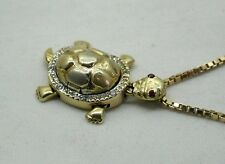 Vintage Lovely 14ct Gold Ruby And White Stone Articulated Turtle Shaped Pendant