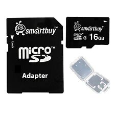Smartbuy 16GB MicroSDHC C4 16 GB Micro SD HC Class 4 TF Memory Card+Adapter+Case
