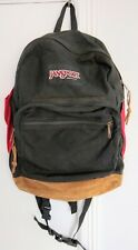 VTG 90s JANSPORT  Black Backpack Brown Leather Bottom School Day Pack USA