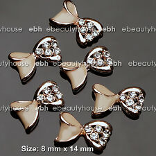 5 PCS Nail Art Champagne Gold Bow Rhinestone Charms Decorations Jewelry #EH252