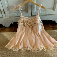 S New Boho Blush Peach Lace Tank Top Cami Blouse Top Women's Size SMALL NWT