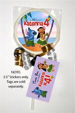 "12 Lilo and Stitch Movie Birthday Party Personalized 2.5"" Lollipop Stickers"