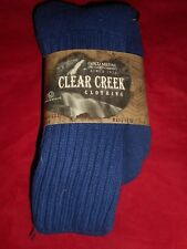 1 Pair Large Clear Creek Triple Cushion Nonbinding Top Cotton Sock 10-13 USA Bl