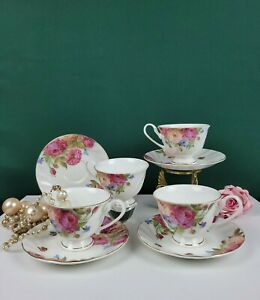 Stechcol Gracie Bone China Cup and Saucer - Set of 4 - Floral Pattern