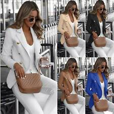 Womens Double Breasted Blazer Suit Military Jacket Lapel Slim OL Outerwear Coat