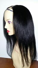 14 INCH INDIAN REMY YAKI HUMAN HAIR U PART WIG SMALL CAP JET BLACK HOT GLUE #85