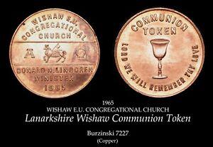 1965 Lanarkshire Wishaw Copper Communion Token B7227