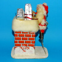 Vintage Christmas Spun Cotton Santa Climbing Chimney Putz Style Presents Tree