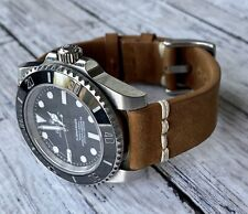 20mm Quick Release BROWN Leather Watch Strap Band WHITE Line Stitch