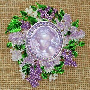 Kirks Folly Lilac Goddess Dream Angel Pin Pendant Silvertone Lavender & Green