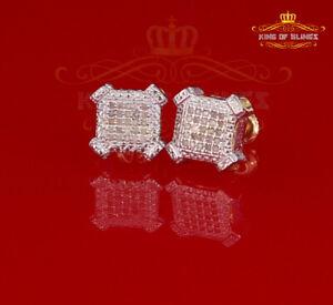 10K Yellow Gold Finish Real Diamond 0.10CT Silver Mens /Ladies Studd Earring
