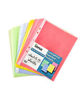 A5 104 colored plastic wallets clear strong punched ring binder pockets  AC-9734